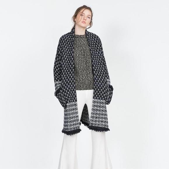 13048a41 Zara Sweaters | Nordic Long Cardigan Coat Jacket | Poshmark